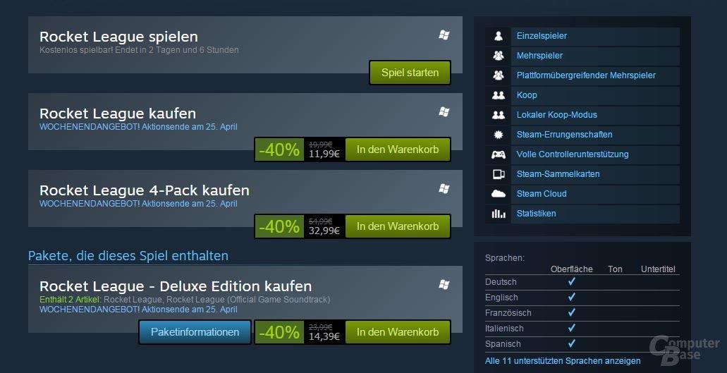 Angebot für Rocket League auf Steam