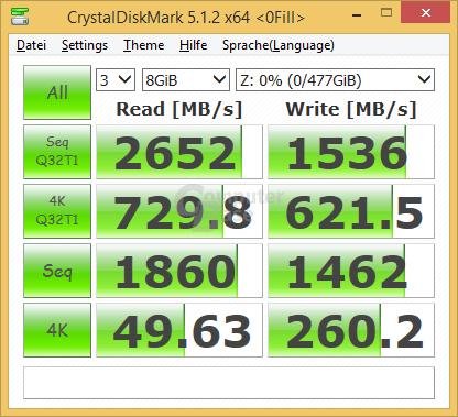 CrystalDiskMark mit nicht komprimierbaren Zufallsdaten