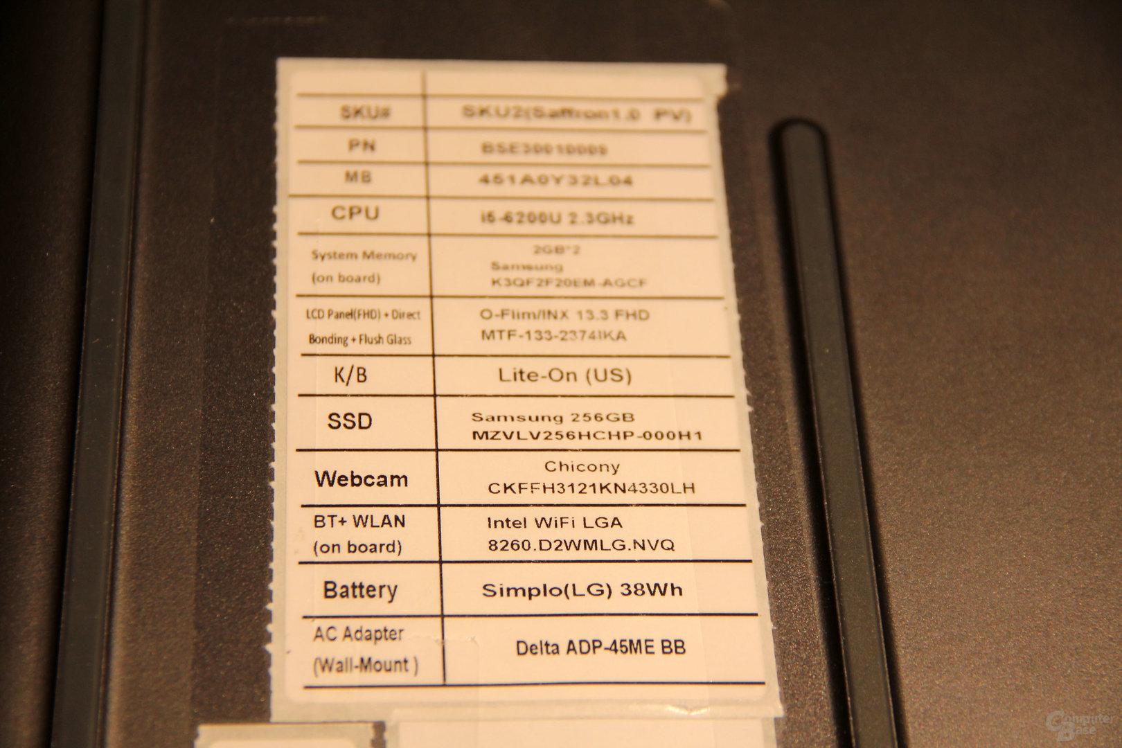Die Spezifikationen des HP-Spectre-Vorseriengeräts