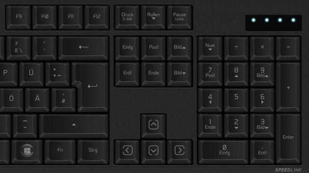 Speedlink Velator: Mechanische Tastatur mit Outemu Blue und Staubschutz