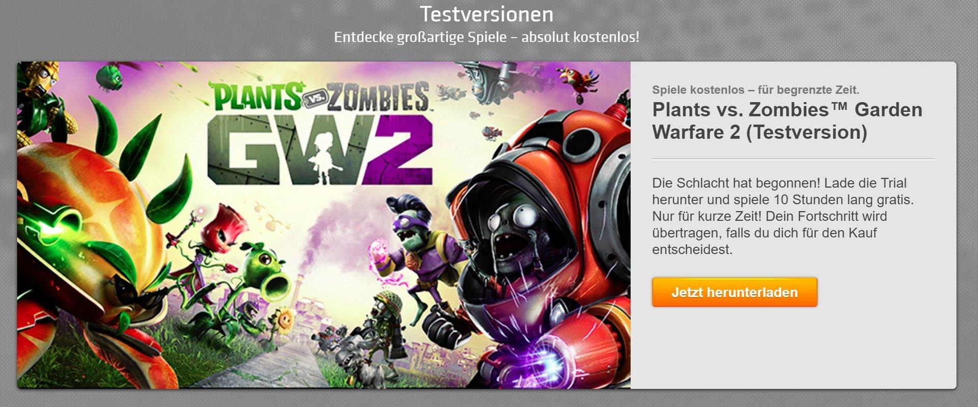 PvZ: GW 2 ist Teil das Game-Time-Angebots