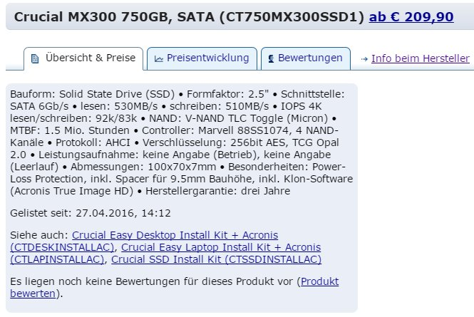 Crucial MX300 750 GB: Spezifikationen