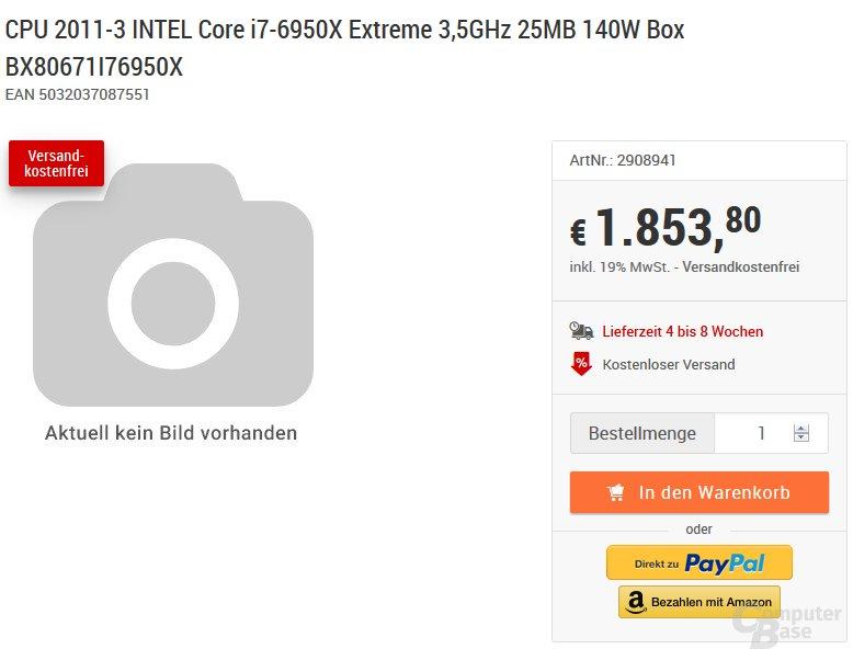 Preislistung des Core i7-6950X in Deutschland