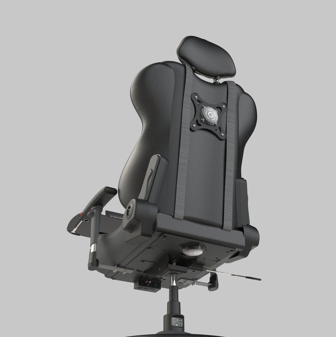 Rumble Packs an Unter- und Rückseite des Stuhls sorgen für haptisches Feedback