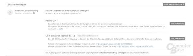 Updates für OS X und iTunes