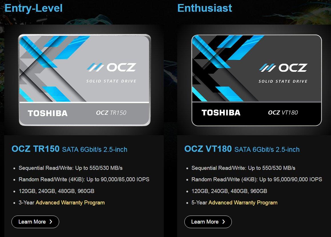 Das verbliebene SSD-Portfolio auf der OCZ-Website