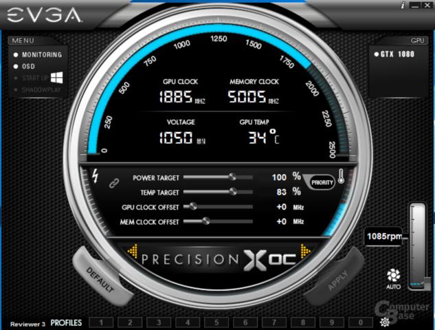 EVGA Precision X OC – Standard-Ansicht