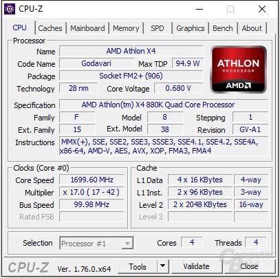 AMD Athlon X4 880K im Leerlauf