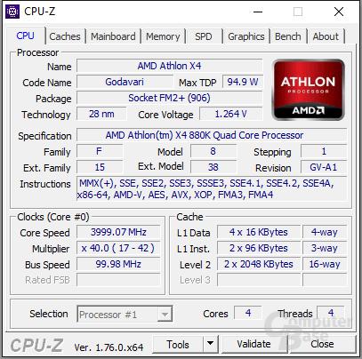 AMD Athlon X4 880K undervoltet