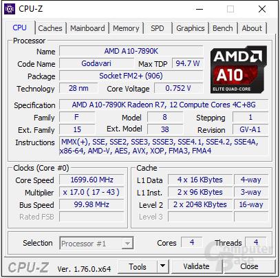 AMD A10-7890K im Leerlauf