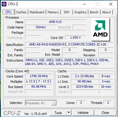 CPU-Z: AMD A9-9410 alias Stoney Bridge