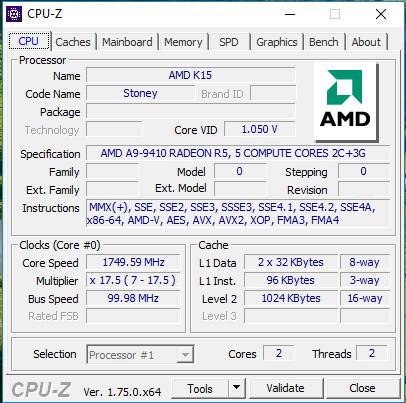 CPU-Z: AMD A9-9410 alias Stoney Bridge