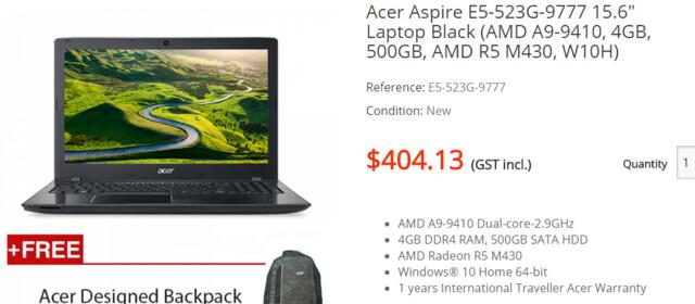 Acer Aspire E5-523G-9777 mit AMD A9-9410