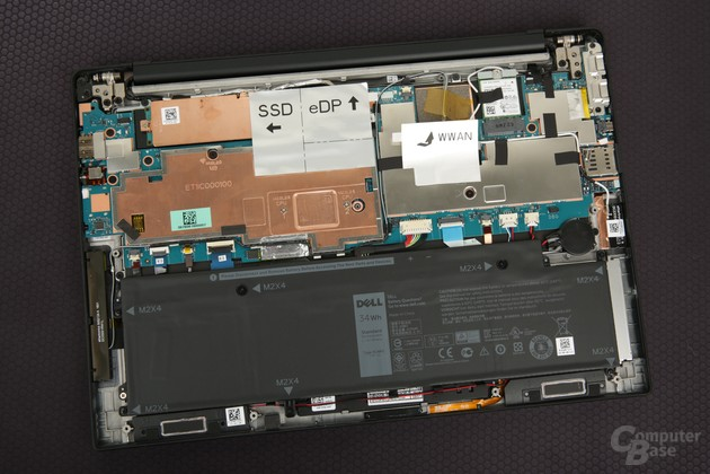 Das Kühlsystem für den Prozessor ist winzig (oben links)