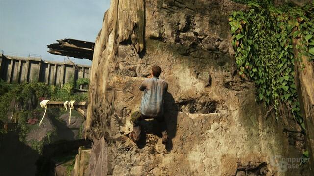 Das Beklettern von Felsen ermüdet im Laufe des Spiels ein wenig