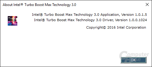 Intel-Tool für Turbo Boost 3.0