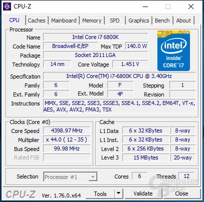 Intel Core i7-6800K bei 4,4 GHz auf einem Kern