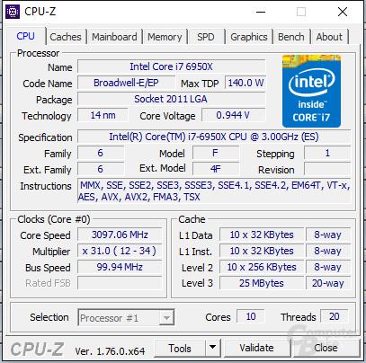 Intel Core i7-6950X undervoltet unter maximaler Prime95-Last