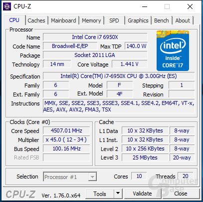 Intel Core i7-6950X mit 4,5 GHz für einen Kern