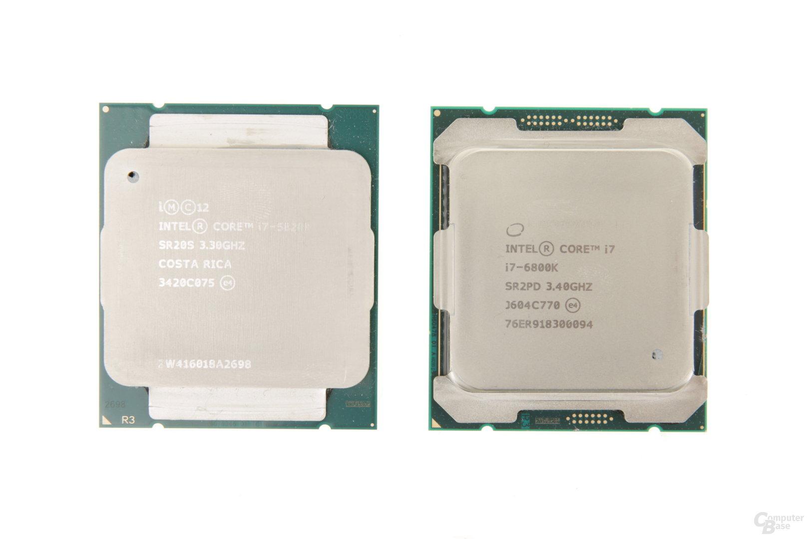 Der neue kleine Sechskerner Core i7-6800K ist wie der Vorgänger (links) bei PCIe beschnitten