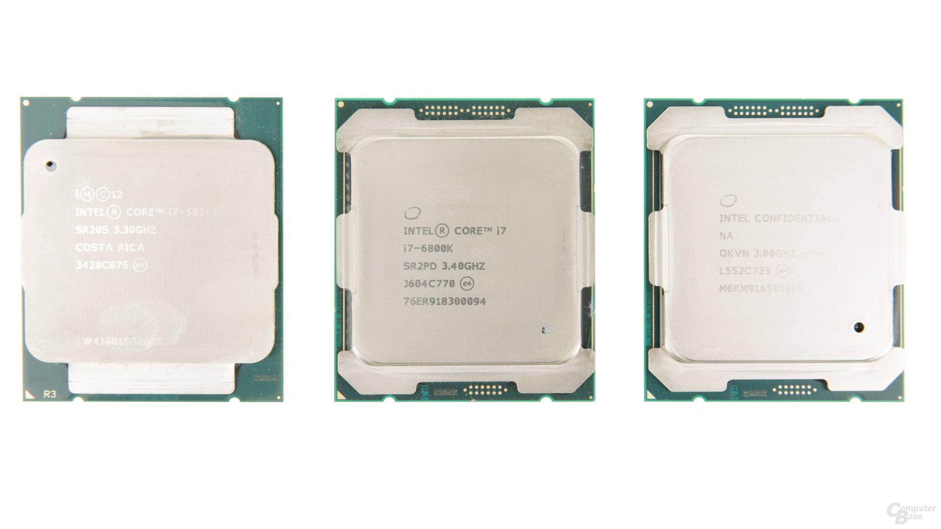 Intel Core i7-5820K (Haswell-E) und i7-6800K sowie i7-6950X (Broadwell-E)