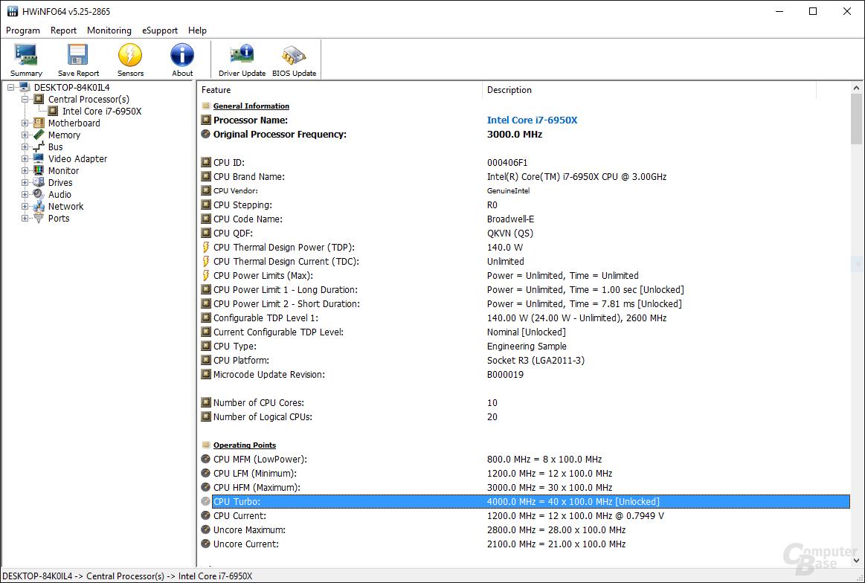 HWiNFO64 erkennt 4,0 GHz als maximal möglichen Takt