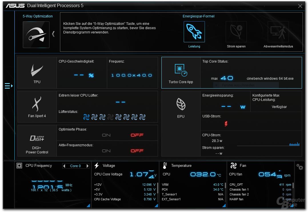Asus-Tool zeigt 4,0 GHz via Turbo-Core-App