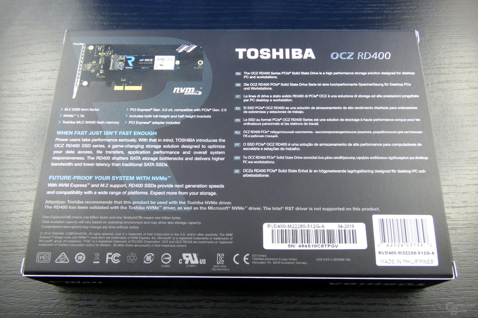 Die Verpackung der Toshiba OCZ RD400A