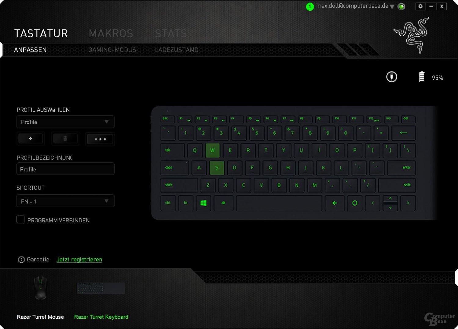 Auch die Tastatur ist vollständig konfigurierbar