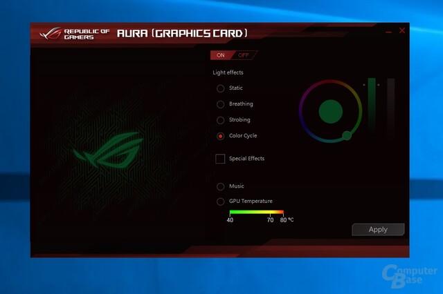 Neben GPU Tweak II steuert Aura die RGB-Beleuchtung