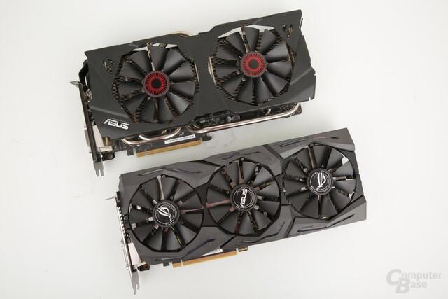GeForce GTX 980 (oben) und GTX 1080 von Asus