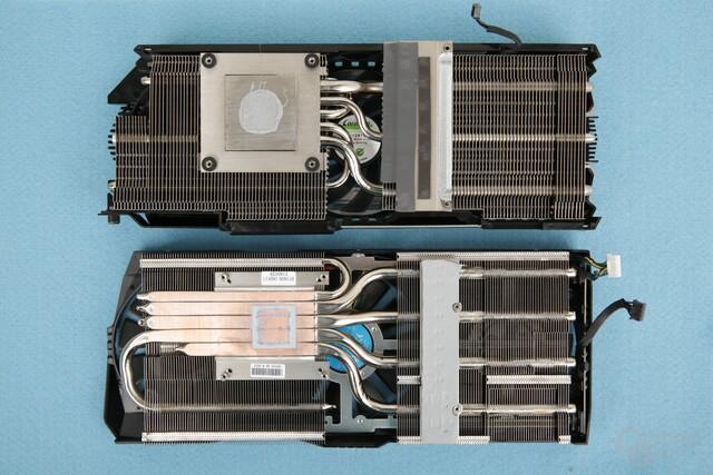 Kühler im Vergleich: Oben Inno3D iChill X3, unten Asus Strix