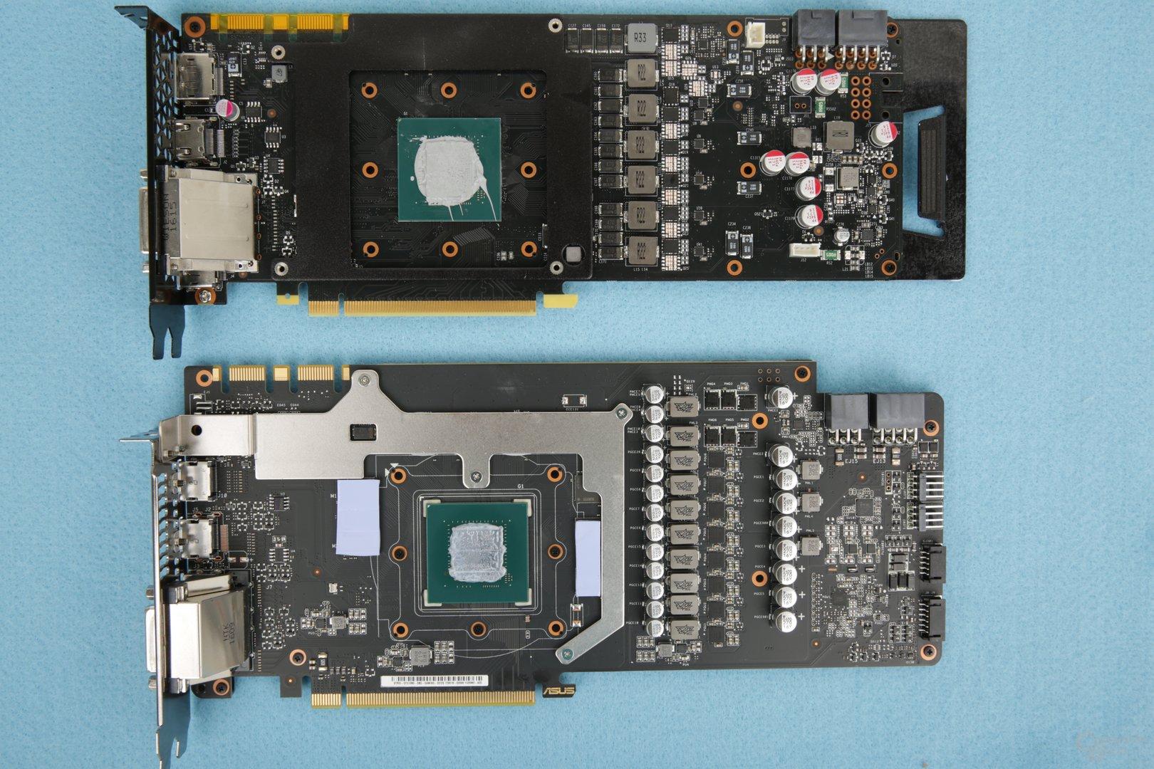 Das PCB im Vergleich: Oben Inno3D iChill X3, unten Asus Strix