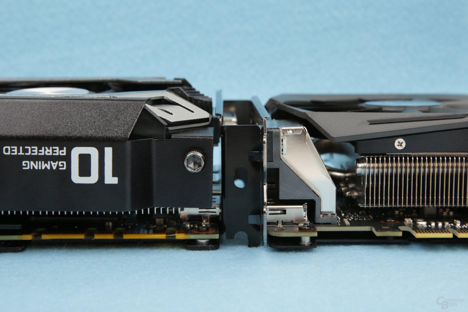 Asus setzt auf gut zwei, Inno3D auf zweieinhalb Slot Höhe