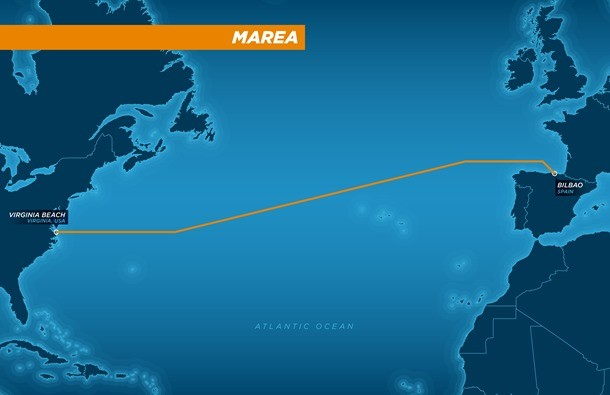 Geplante Route des MAREA-Kabels