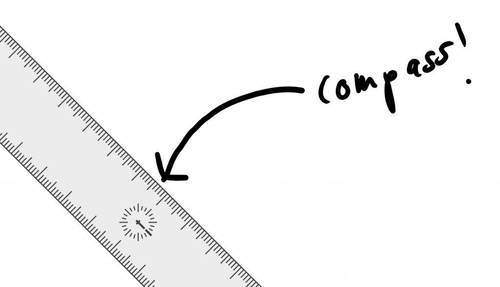 Ink-Lineal mit Kompass