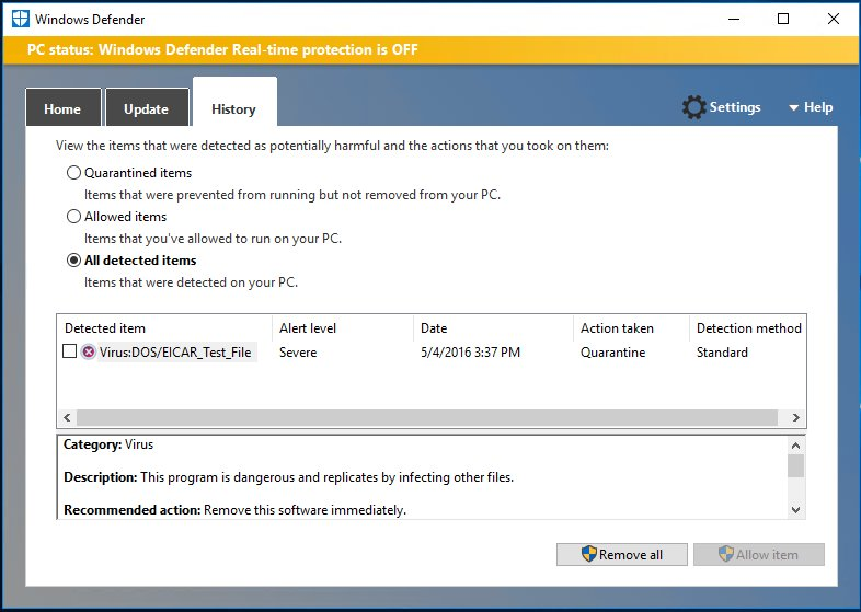 Limited Periodic Scanning durch Windows Defender