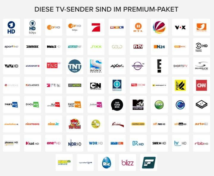 Sender im Paket Magine TV Premium (Stand März 2017)