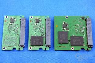 Samsung SSD 750 Evo mit 120, 250 und 500 GB (v.l.n.r.)