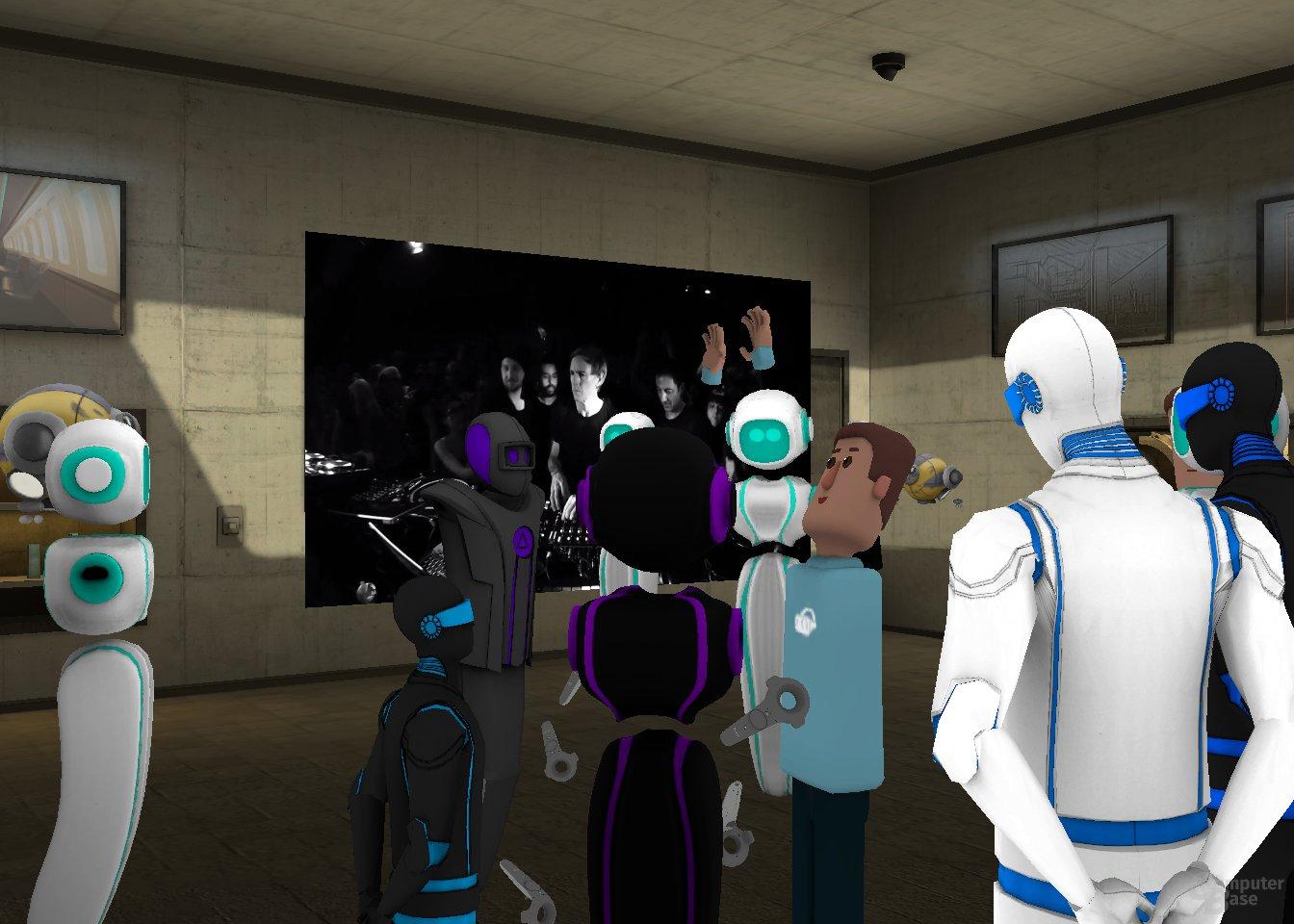 Bei der Live-Übertragung eines Boiler Room Musik-Events wirft ein VR-Nutzer mit Leap Motion die Hände in die Höhe