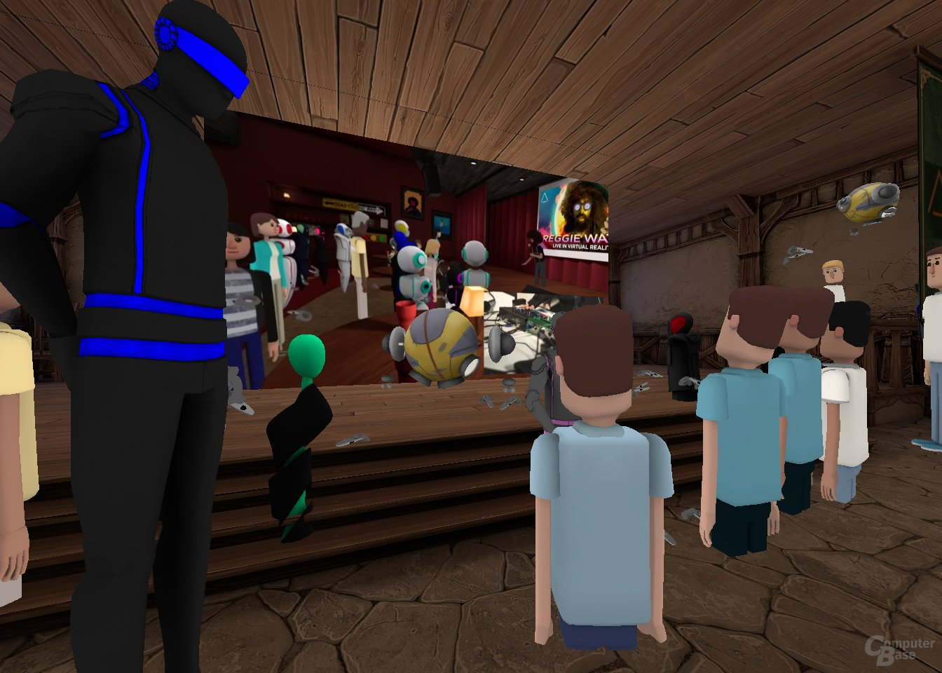 Da der VR-Auftritt von Reggie Watts für manche Nutzer stockte, wichen sie auf die YouTube-Übertragung auf einer virtuellen Leinwand aus