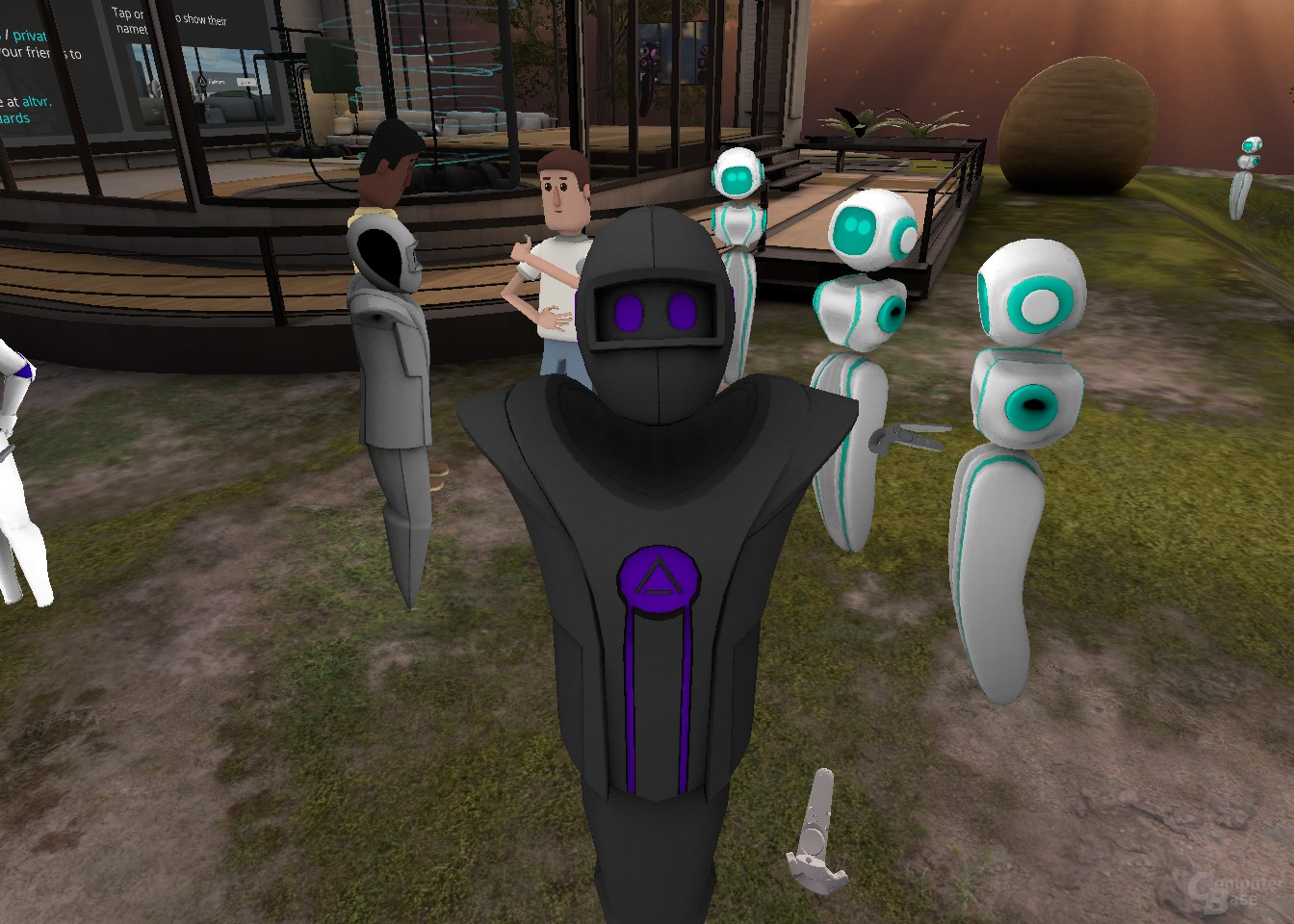 """Im Hintergrund des VR-Selfies gestikuliert ein Nutzer mit einem """"Perception Neuron""""-System..."""