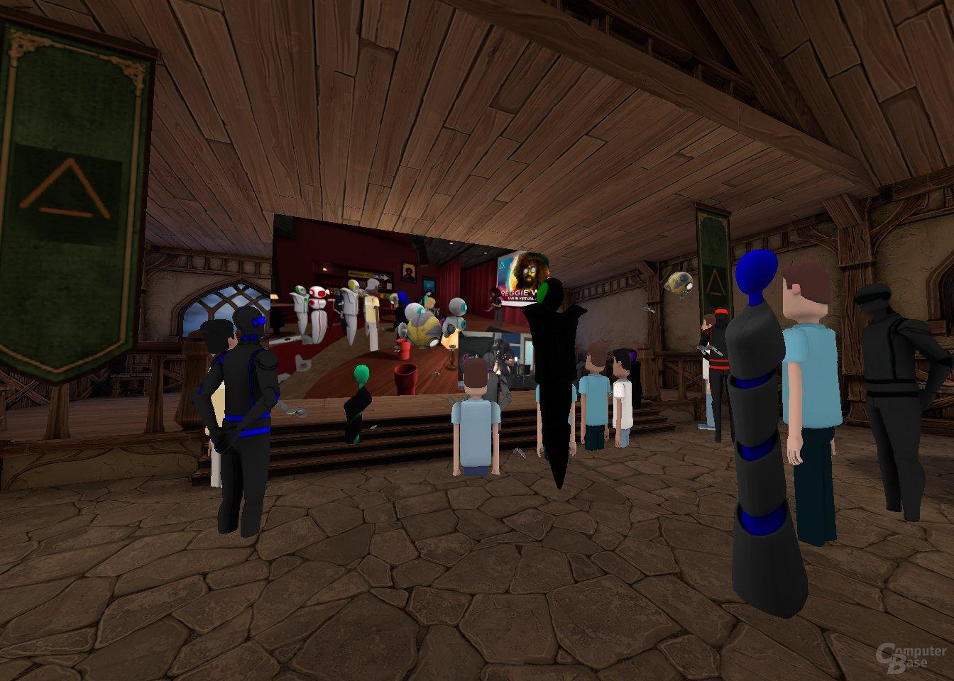 YouTube-Leinwand in der virtuellen Taverne