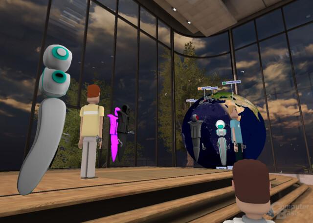 """Im """"Hang Out""""-Raum kann ein virtueller Globus eingeblendet werden, der das Herkunftsland der einzelnen VR-Nutzer anzeigt"""