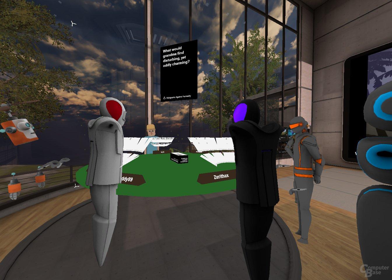 """Im """"Hang Out""""-Raum spielen Nutzer """"Cards against Humanity"""" an einem virtuellen Tisch"""