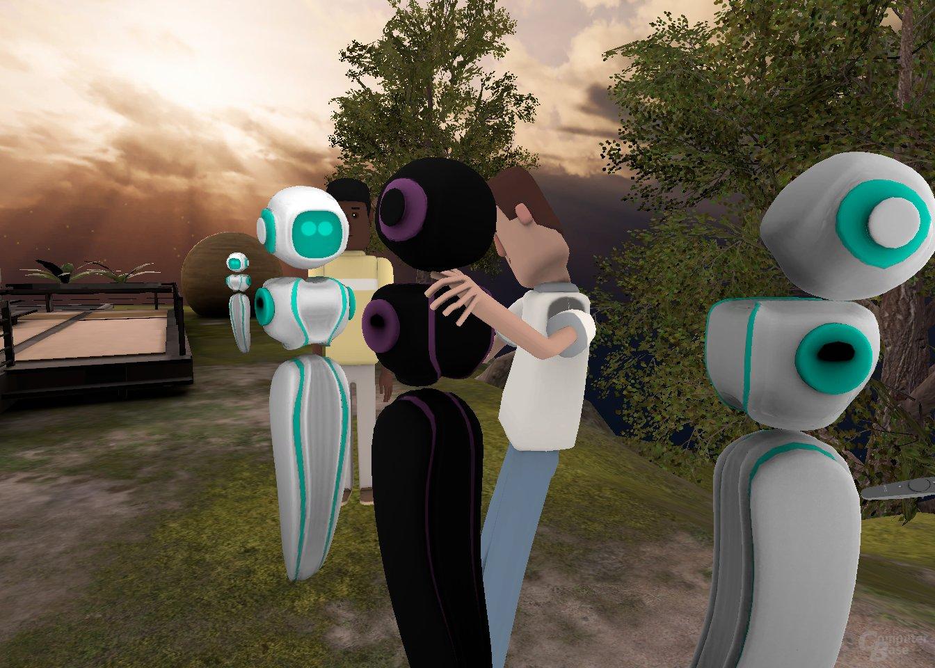 ...und umarmt wenige Momente später einen Avatar