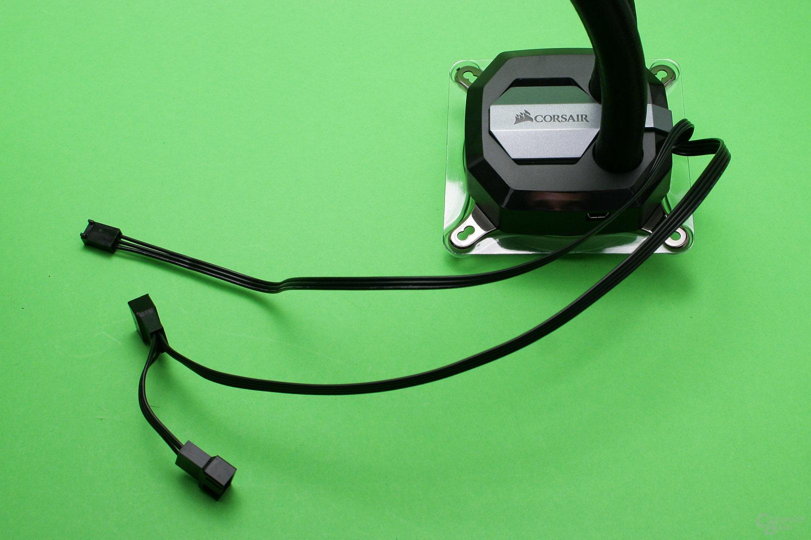 Corsair H100i v2: Die Pumpeneinheit kann Lüfter steuern