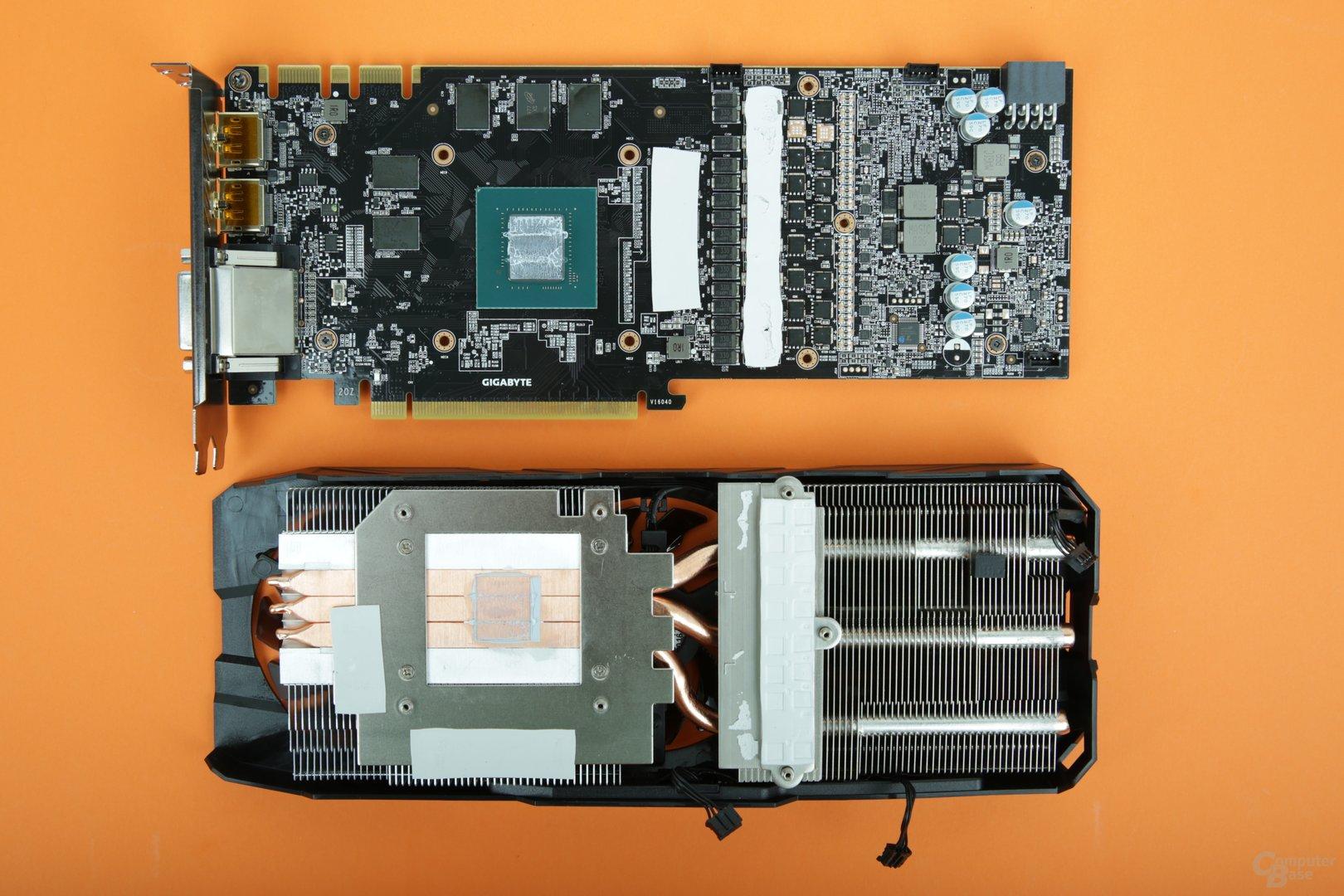 PCB und Kühler der Gigabyte GTX 1080 G1 Gaming