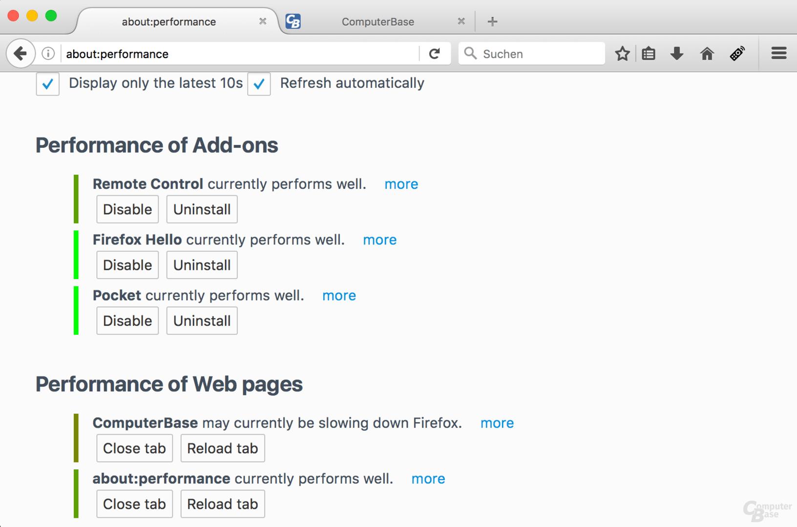 """""""about:performance"""" liefert Informationen über langsame Tabs und Addons"""