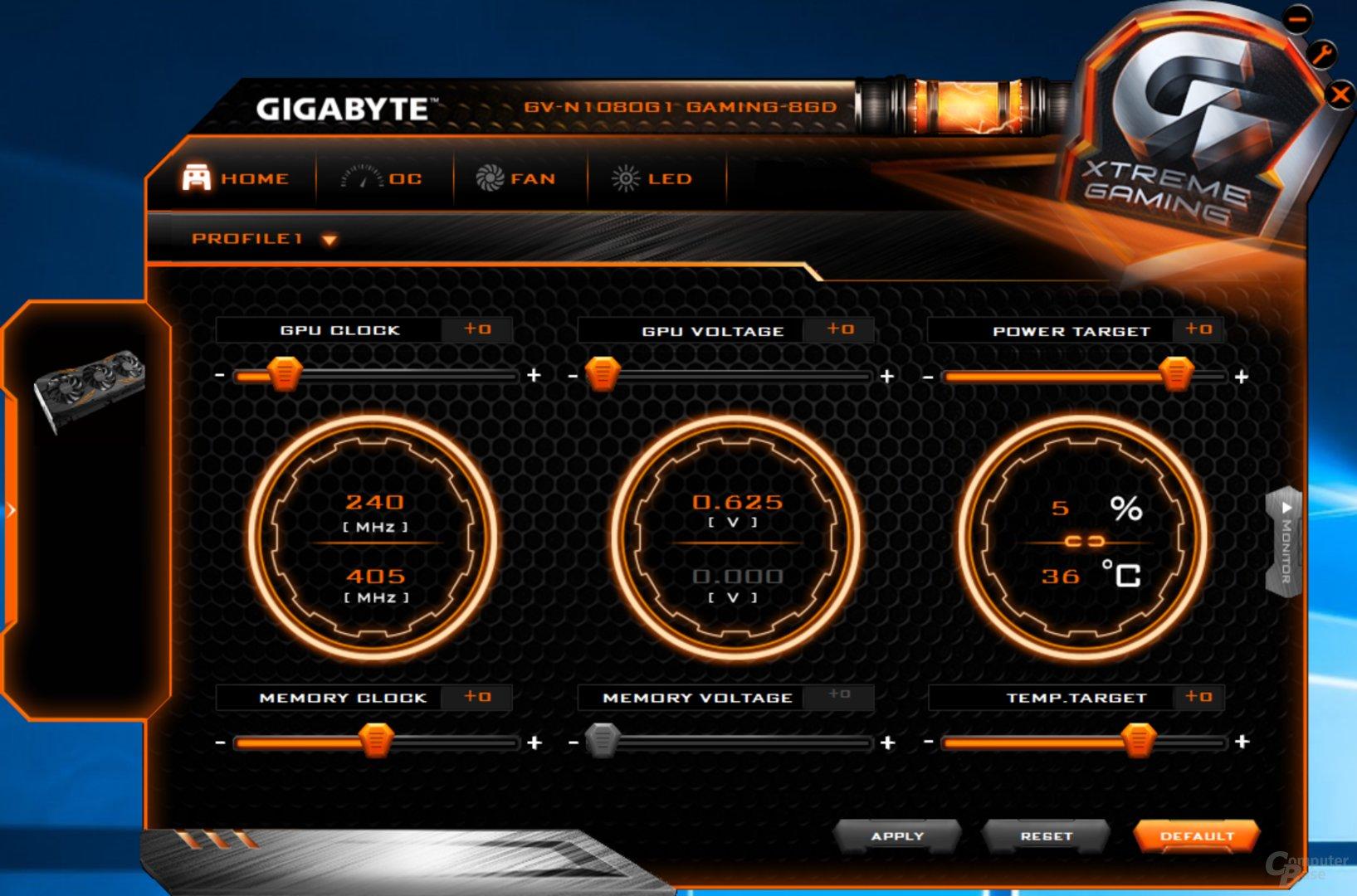 Gigabyte GTX 1080 – Xtreme Gaming Tool